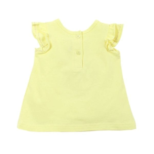 Baby Girls T-Shirt Top is lemon cotton stretch fabric with frill sleeves - back image view