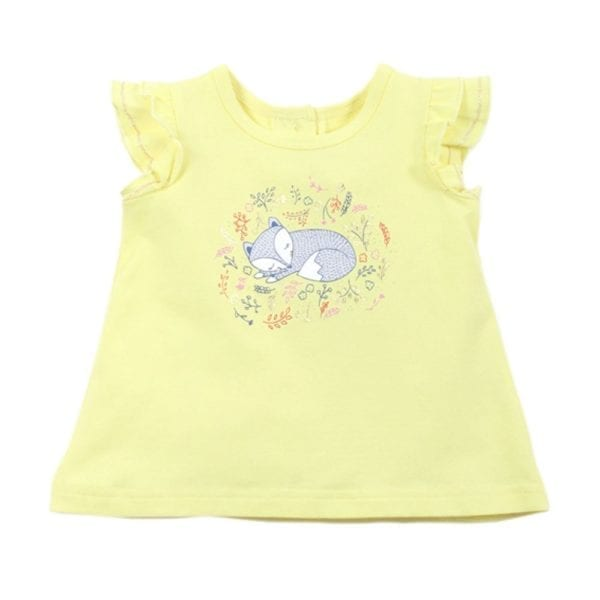 Baby Girls T-Shirt Top has a line drawing of a cute sleeping fox surrounded leaf and flowers around print