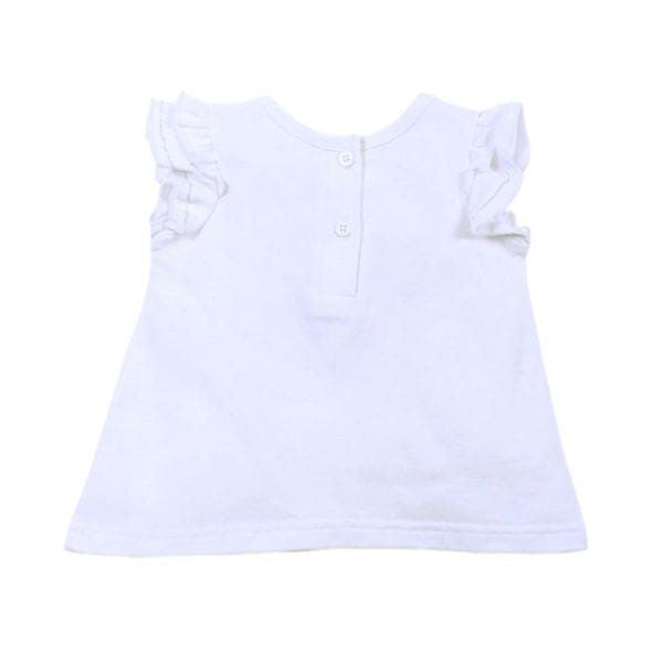 Baby Girls T-Shirt Top is white cotton stretch fabric with short frill sleeve - rear image view