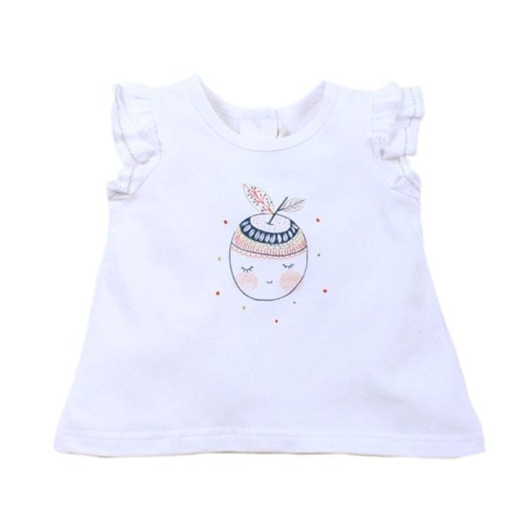 Baby Girls T-Shirt Top has cute apple shape line drawing with lips, closed eyes and colour smudge cheeks print with pretty patterned leaf and small polka dots around print