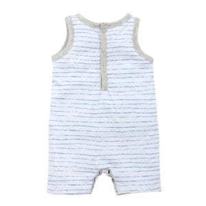 baby boys sleeveless romper has white background with fine blue stripes and marl grey neck and armhole trim - back image view
