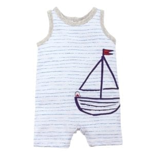 baby boys sleeveless romper has white background with fine blue stripes and dark blue sketched sailing boat with bird on the bow and red flag i image front view