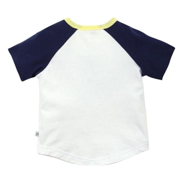 Baby Boys t-shirt top with white bodice, navy blue sleeves, lemon trim neckline - image back view