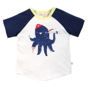 Baby Boys t-shirt top with Octopus print character wearing a hat, eyepatch, hooked tentacle, peg tentacle and holding a telescope. white bodice, navy blue sleeves, lemon trim neckline - image front view
