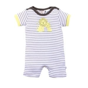 White and brown stripe short sleeve romper - lemon mother and baby abstract lion print