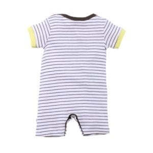 White and brown stripe short sleeve romper - image back view