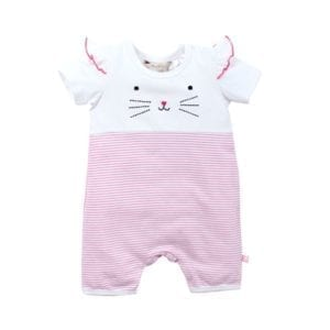 Baby Girls Sahara Playsuit is white with pink stripes image front view