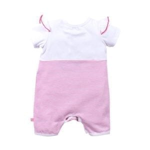 Girls Sahara playsuit - has white upper bodice and short sleeves trimmed with pink. Lower half of playsuit is pink and white stripe - image back view