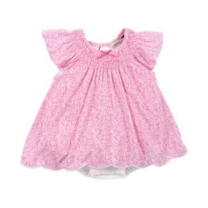 Baby Girls Scribble pink print dress image front view
