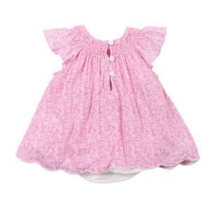 Baby Girls Dress with white bodysuit : scribble pink print image back view