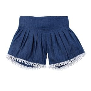 Baby Girls Shorts chambray pleated with white leg trim front view