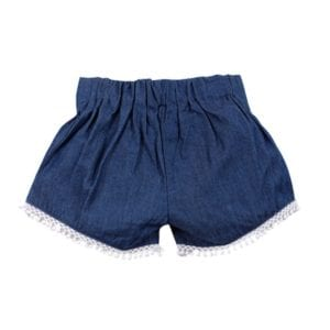 Baby Girls Shorts chambray pleated with white leg trim