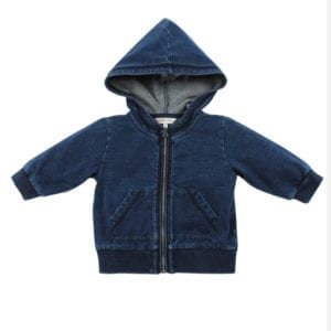 image of denim look baby hooded acket