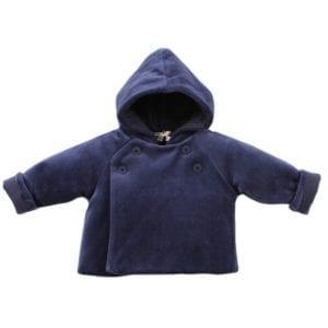 image of baby velour hooded jacket