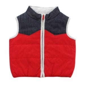 image of red and denim baby puffa vest