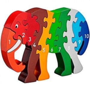 wooden elephant puzzle with numbers 1 to 10 is a handmade fair trade educational toy