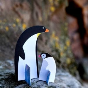 interior décor colourful and sustainable artistic penguins product image styled