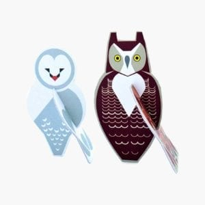 interior décor colourful and sustainable artistic owls product image white background