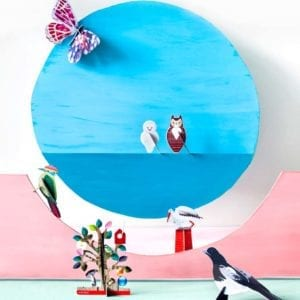 interior décor colourful and sustainable artistic owls product image styled