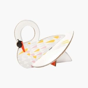 interior décor colourful & sustainable artistic swan image styled white background