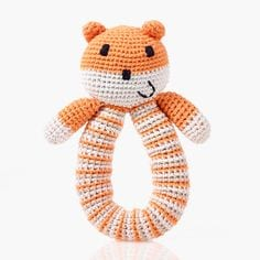 image of Bear organic cotton rattle – soft orange
