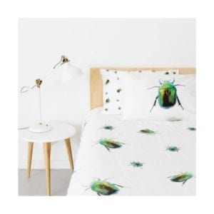 image of single bed Green Beetle Quilt Cover & Pillowcase Set