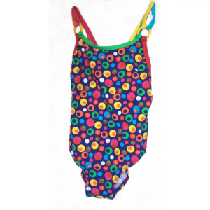 Girls-Swimsuit-bubbles-print-fullpiece front product view