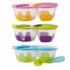 image of snack page with two compartments and spook that clips to the lid available in pink, blue, lime