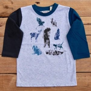 boys long sleeve t-shirt with animal print on grey marl fabric. one sleeve is ink blue and the other is navy blue - product image front