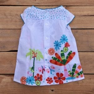 baby girls dress with tropical print and button up back - product image