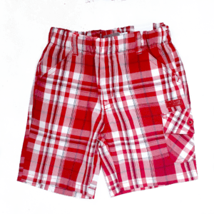 boboli boys cotton shorts red checked front view product image