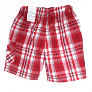 boboli boys cotton shorts red checked back view product iimage
