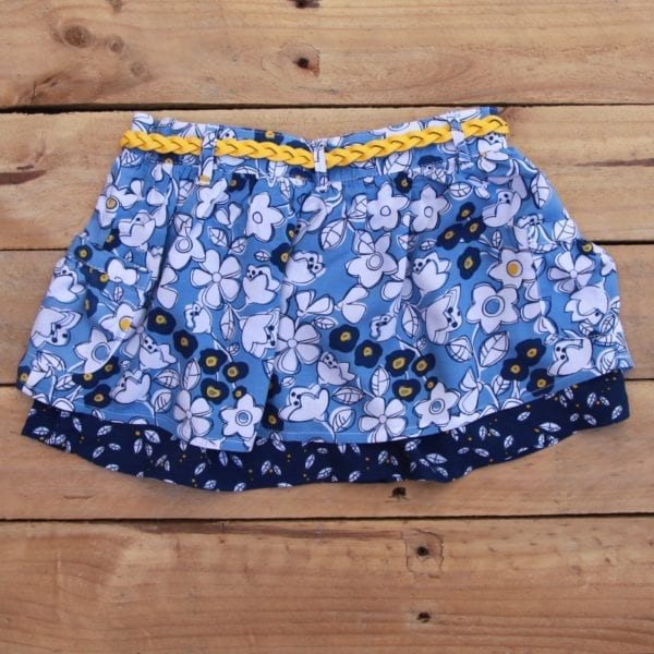 girls blue floral two tier ruffle skirt with yellow belt - product image