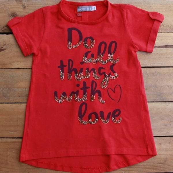 Girls top - 'do all things with love' print product image