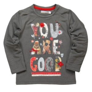 girls long-sleeve grey tee with print 'you are good on front'