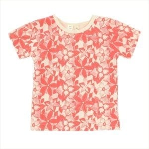 Tinker brand Baby girl t-shirt coral floral graphic print on natural organic cotton fabric made in Australia - product image