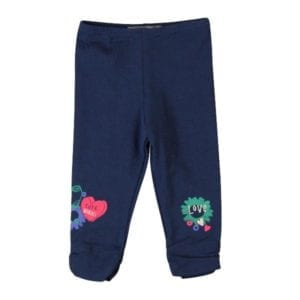 image of dark blue leggings for love and cute words and graphics printed at each ankle