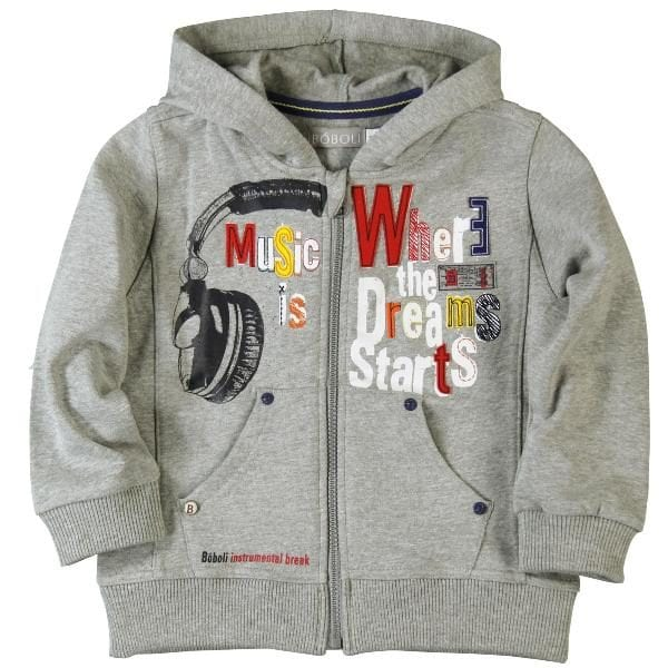 image of grey hooded jacket with graphic print words music is where the dreams starts on the front