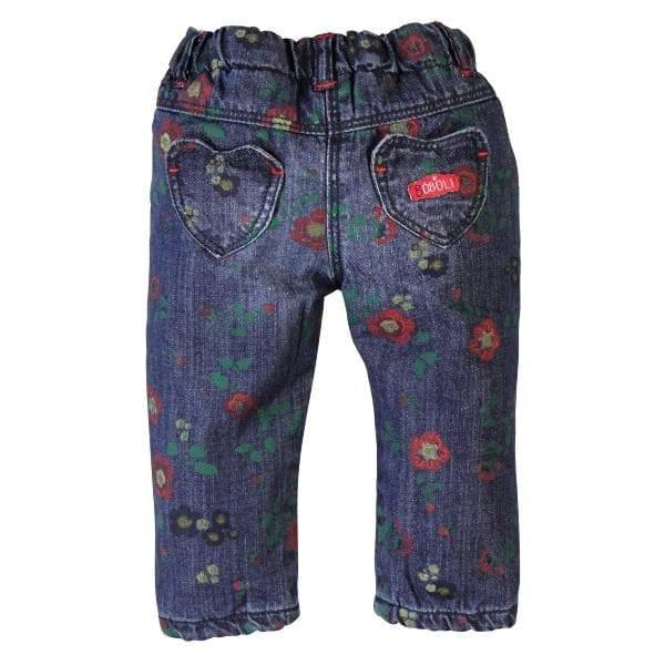 image of girls denim floral jeans