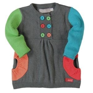 image of baby girl grey dress with pop colours used as contrast design detail green aqua orange and red