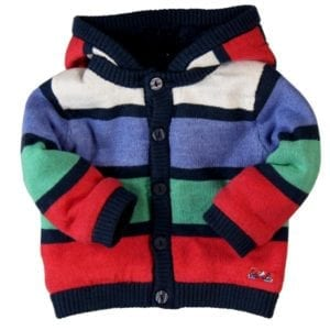 image of baby knit hooded jacket white, blue, green, red wide stripes with navy trim and fleece lining