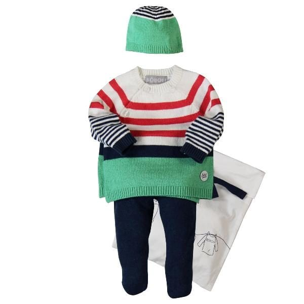 image of baby knitted outfit gift pack blue leggings, white, red, blue and green jumper and beanie