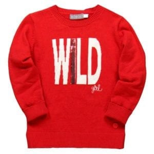 image of girls red pullover with the word wild on front