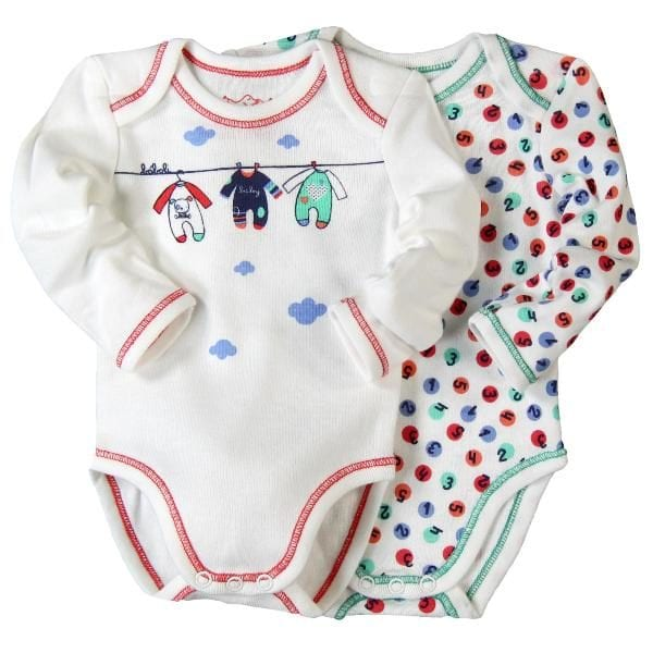 image of white two bodysuits with different prints