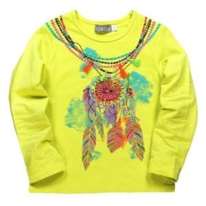image of dream catcher and feathers on citrus lemon-lime colour long sleeve tee