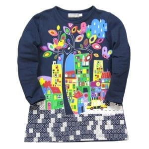 image of navy blue stretch cotton long-sleeve dress with full front graphic of colourful high rise buildings a car bird and tree. It's a great design.