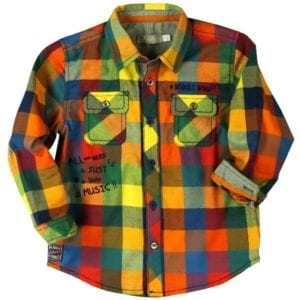 image of multi-coloured boys checked shirt