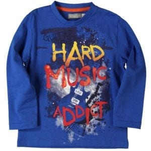 image of boys blue long-sleeve tee with graphic print on the front wording hard music addict and grunge style image of a guitar