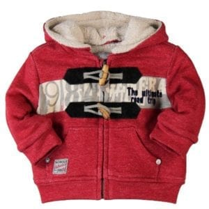 image of red marl fleece jacket with detachable hood front pockets, metal zip and toggle feature closure