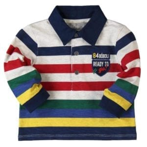 image of boys cotton long-sleeve polot shirt in marl otameal colour with navy, red, dark green, and yellow stripes, navy twill fabric colour with 3 press stud opening